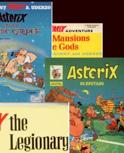 Set of 4 ASTERIX Books: LEGIONARY, MAGIC CARPET, BRITAIN, MANSIONS Very Fine/NM