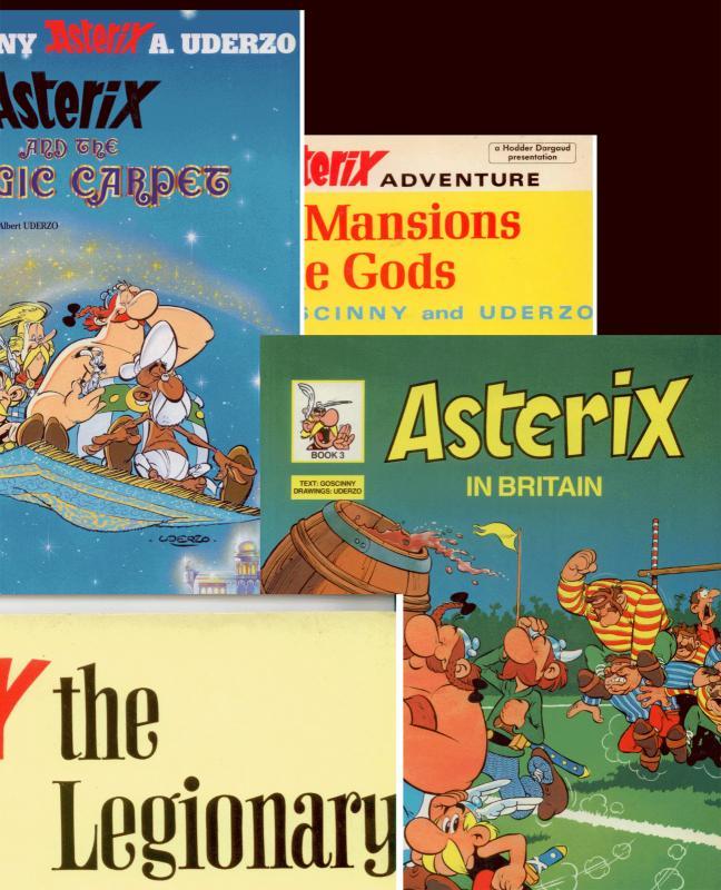 Set of 4 ASTERIX Books: LEGIONARY, MAGIC CARPET, BRITAIN, MANSIONS Very Fine/NM
