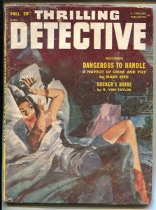 Thrilling Detective-Fall 1953-terrified woman cover-Final issuer-hardboiled p...