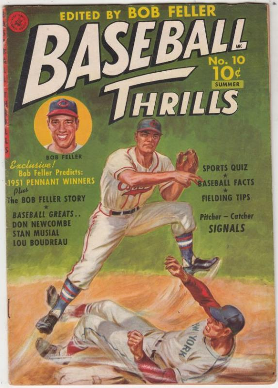 Baseball Thrills #10 (Jul-51) VF+ High-Grade Bob Feller, Stan Musial, Don New...