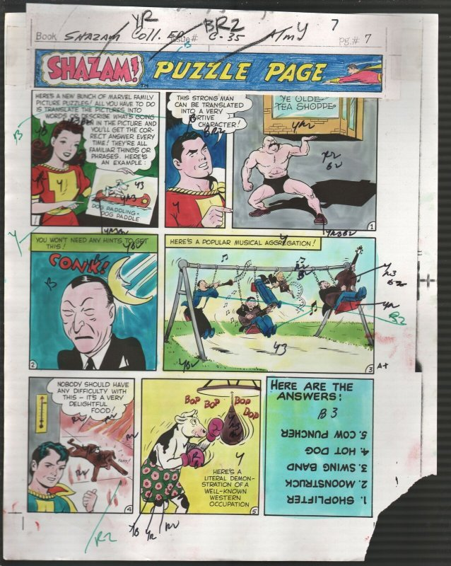 Hand Painted Color Guide-Capt Marvel-Shazam-C35-1975-DC-page #7-puzzle page-G/VG