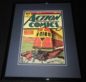 Action Comics #13 Framed 11x14 Repro Cover Display Superman Stops Train