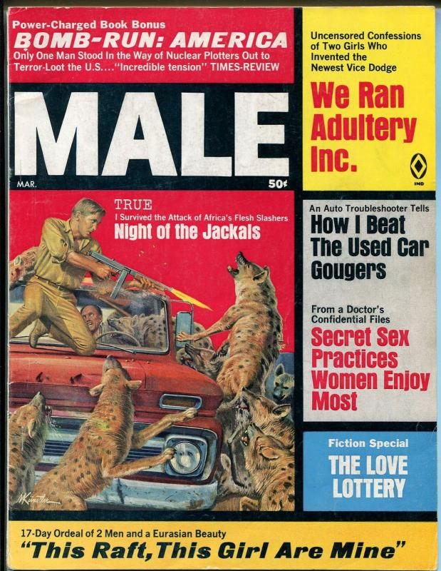Male 3/1969-Atlas-Kunstler-tommy gun-cheesecake-pulp thrills