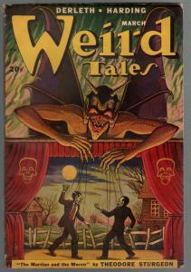 Weird Tales 3/1949-Matt Fox monster horror cover-Sturgeon-Harding-FN
