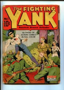 FIGHTING YANK #1-NEDOR-1942-BOUND NURSE-WWII SUPERHEROES-RIO KID-MYSTICO-good+