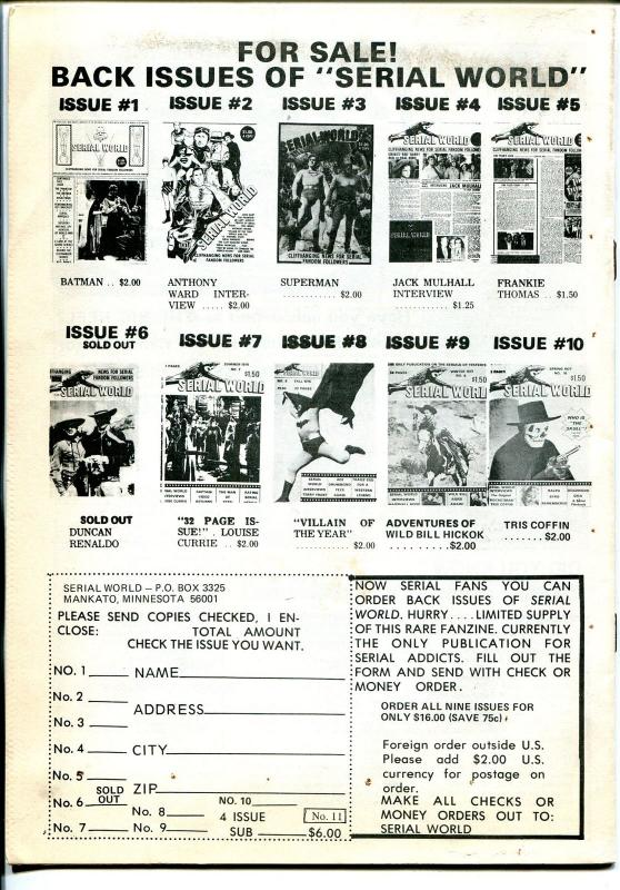 Serial World #11 1977-Kirk Alyn-Blackhawk-Duncan Reynaldo-movie serials-FN
