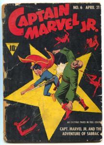 Captain Marvel Jr #6 1943- Raboy Devils cover- Golden Age low grade