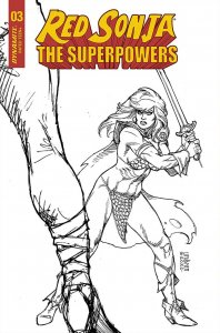 Red Sonja The Superpowers #3 Linsner 1:10 B&W Variant (Dynamite, 2021) NM
