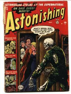 Astonishing #15 1952- Skeleton cover- Atlas Horror golden-age G