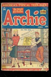 ARCHIE COMICS #36 1942-G WASHINGTON-A LINCOLN-ROOSEVELT FR/G