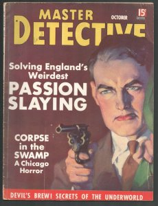 Master Detective 10/1936-Dalton Stevens gunman cover-Devil's Brew secrets o...