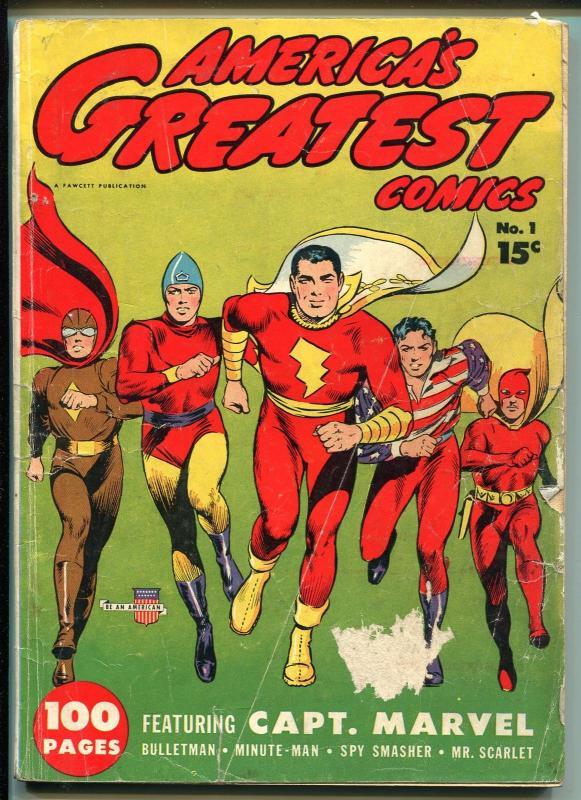 AMERICA'S GREATEST #1 1941-FAWCETT-1ST ISSUE-GIANT-CAPT MARVEL-GHOST-good/vg