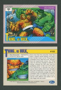 1991 Marvel Comics II  Card  #103 ( Thing vs Hulk )  MINT