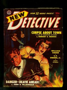 New Detective Pulp March 1949- Gun Moll Cover- Crime Fiction- FN