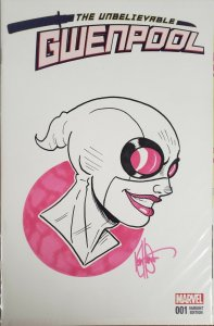Unbelievable Gwenpool #1 REMARKED AND SIGNED BY KEN HAESER W/COA.