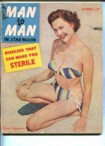 MAN TO MAN-OCT 1952-PANTY RAIDS-CANNIBALS-CAROL BREWSTER-CHEESECAKE-good/vg