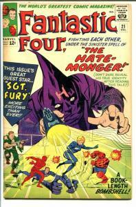 FANTASTIC FOUR #21-HATE MONGER-JACK KIRBY ART-SGT FURY! VG/FN