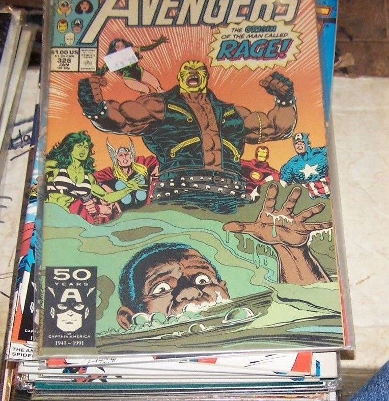 Avengers # 328 (Jan 1991, Marvel) rage thor she hulk vision ironman cap