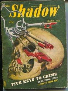 Shadow 3/1945-Street & Smith-Five Keys To crime-hero pulp-skull-VG