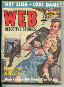Web Detective Stories 6/1959-Candar-strangulation coverviolence-female abuse-VG