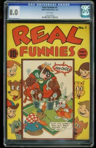 REAL FUNNIES #1-CGC 8.0-NEDOR-WHITE PAGES!-SOUTHERN STATES 1161203013