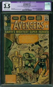 AVENGERS #1  CGC 3.5 VG- Hulk, Iron Man, Thor, Ant-Man and the Wasp