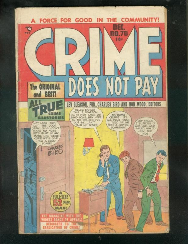CRIME DOES NOT PAY #70 1948-CHAS BIRO-PRE CODE VIOLENCE G/VG