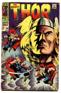 THOR #158 comic book-1968-JACK KIRBY-MARVEL VG
