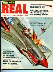 Real For Men 9/1957-Flying Tigers-P-40-Little Caesar-modeling racket-FN