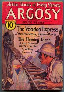 Argosy Pulp October 10 1931- VOODOO EXPRESS- Flaming Torch VG