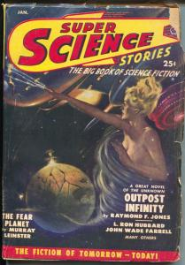 Super Science Stories 1/1950-Popular-Canadian-L Ron Hubbard-Murray Leinster-VG