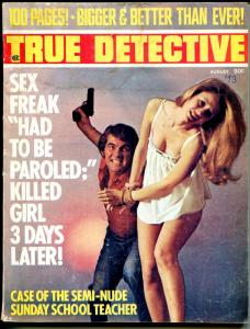 True Detective 8/1973-bound babe terror cover-crime stories & pix-G/VG