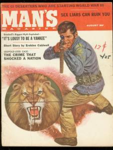 MAN'S MAGAZINE AUG 1957-LION COVER-ERSKINE CALDWELL-PUL VG