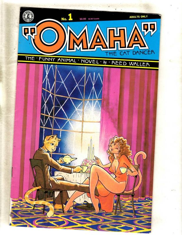 Lot Of 10 Omaha Kitchen Sink Comic Books # 1 2 3 4 5 6 7 8 8 9 Cat Dancer JF1