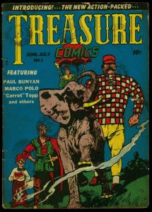 Treasure Comics #1 1945- Marco Polo- Paul Bunyan- Higwayman G