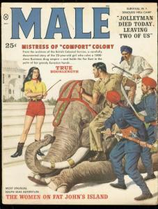MALE MAGAZINE MAY 1959-ELEPHANT COVER-KUNSTLER-BAMA-WAR G/VG