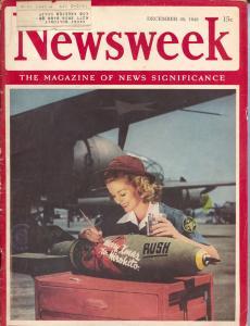 Newsweek 12/28/1942.-Hirohito Christmas bomb present cover-B-25 bomber-VG