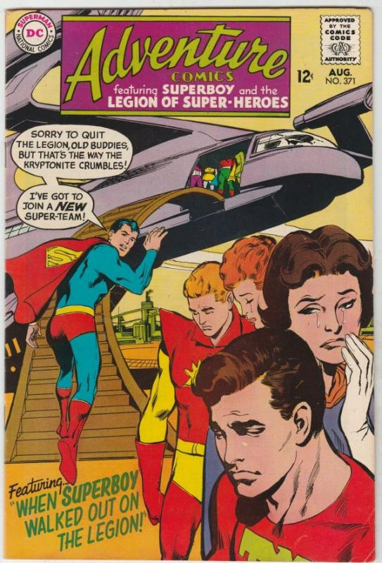 Adventure Comics #371 (Aug-68) FN/VF+ High-Grade Legion of Super-Heroes, Supe...