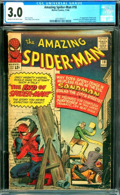 Amazin Spider-Man #18 CGC Graded 3.0 1st appearance of Ned Leeds. Fantastic F...