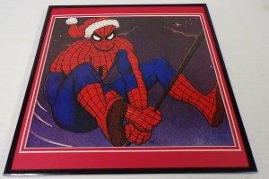 1988 Marvel Spider-Man Santa ORIGINAL Vintage Framed 12x12 Poster Display