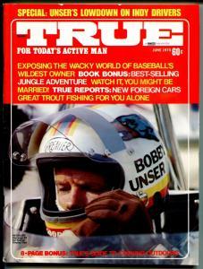 True 6/1973-Fawcett-Bobby Unser-Indy 500-sky diving-VG