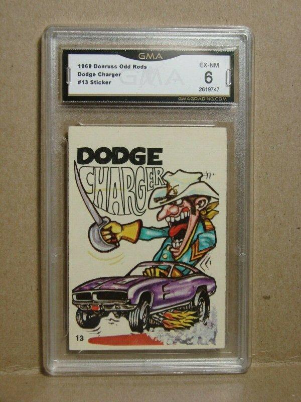 1969 Donruss Odd Rods Card #13 DODGE CHARGER Sticker Graded EX-NM 6 RARE L@@K!!