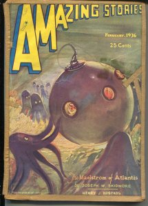 Amazing Stories 2/1936-octopus menace cover-sci-fi pulp thrills-Morey-G