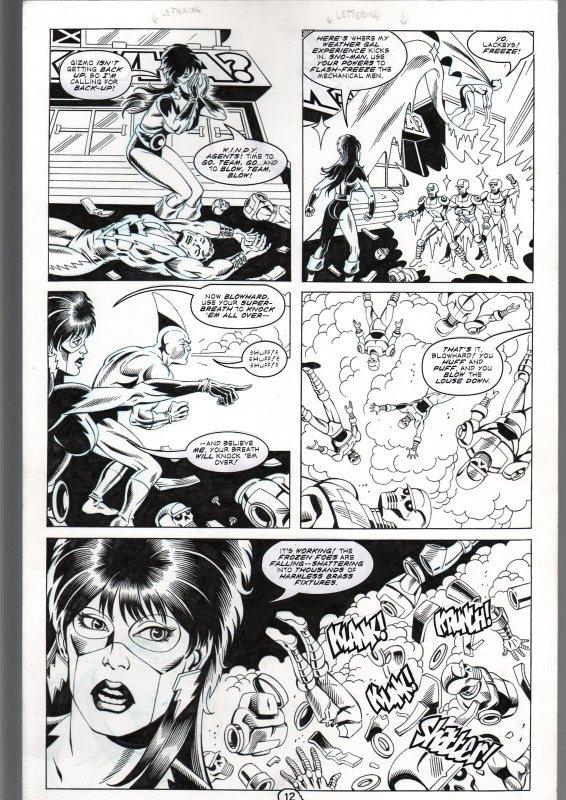 RONN SUTTON ELVIRA #149 ORIGINAL ART PAGE 12-THUNDER AGENTS PARODY-QUEEN 'B FN