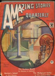 AMAZING STORIES QUARTERLY FALL 1934-GERNSBECK-COBLENTZ-PAUL-REPRINT EDITION-vg