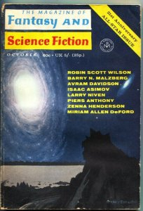 MAGAZINE OF FANTASY AND SCIENCE FICTION-Oct 1970-Science Fiction Pulp Thrills