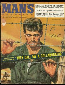 MAN'S MAGAZINE SEPT 1957-VICE RINGS-SLAVE LABOR-PULP VG
