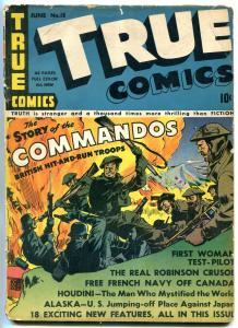 True Comics #13 1942- Story of Commandos- Alma Heflin- Houdini VG