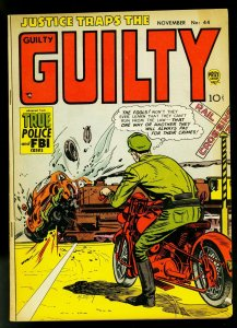 Justice Traps the Guilty #44 1952- Motorcycle & railroad cover- FN-