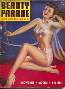 Beauty Parade 5/1945-Billy DeVoss pin-up girl cover-bondage-high heels-VG